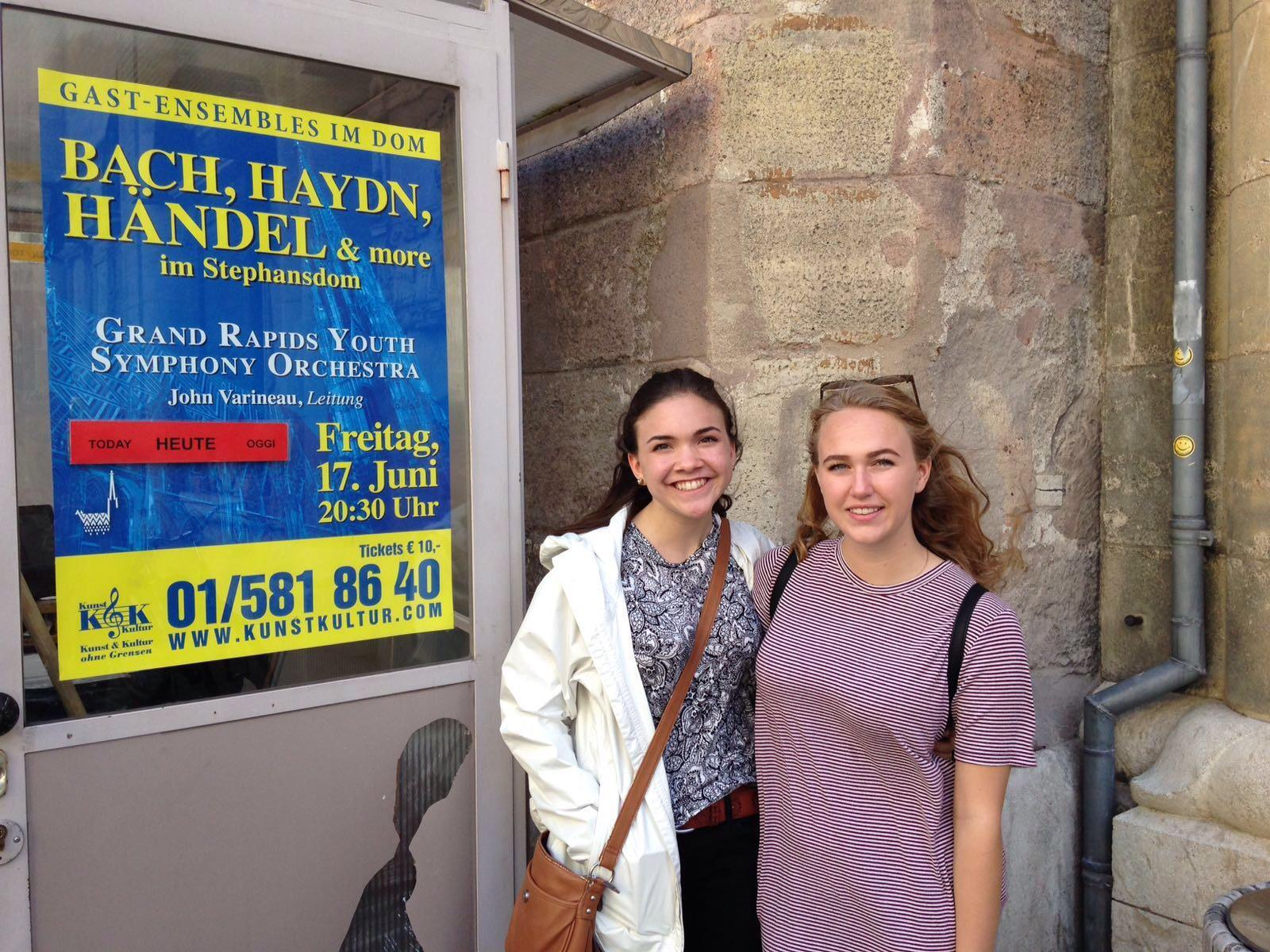 Abby Schneider '17 and Anna Baermann '18 in Europe to play cello.