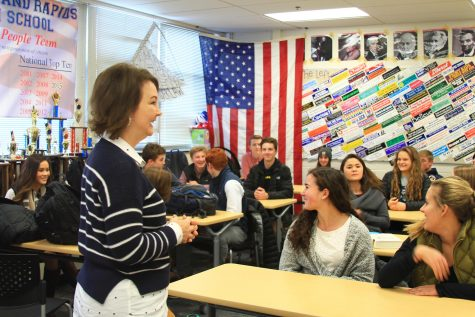 Janice Yates teaching the Constitutional Studies class earlier this year.