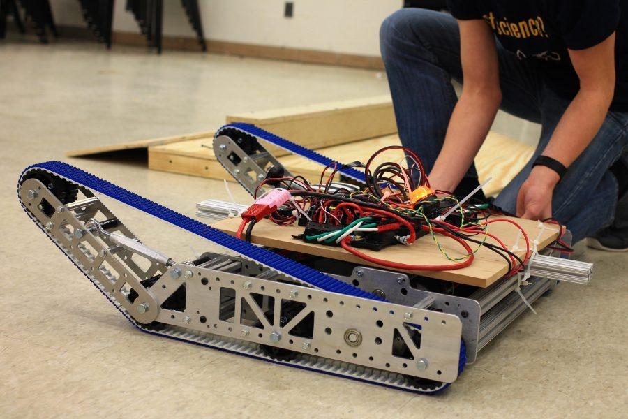 The competition robot  which was designed, coded, and engineered by the Robotics Team.