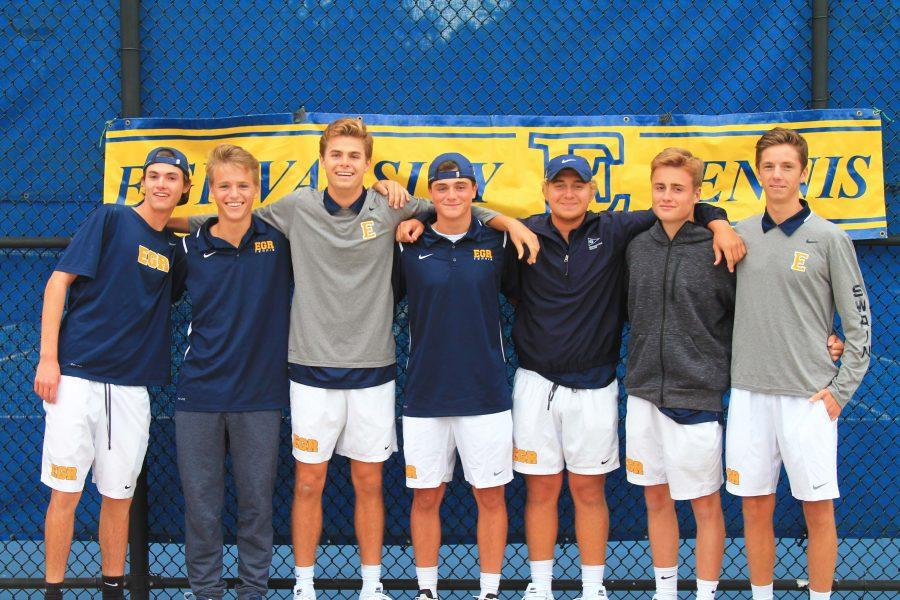Senior boys tennis players celebrate their last home match at senior night.