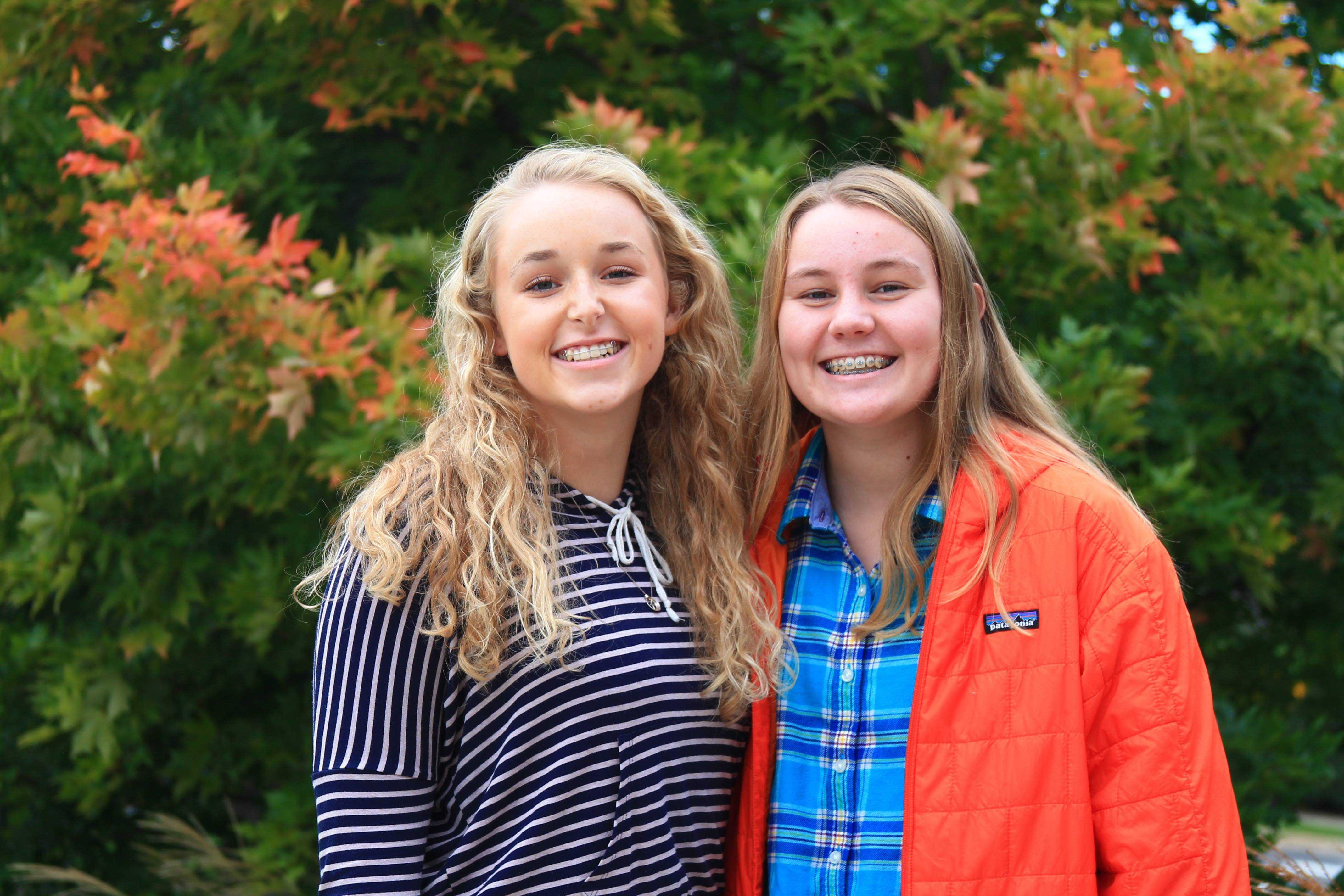 Two excited Drama Club members Katherine Christians '18 and JudithMay Ernst '18 pose for a photo.