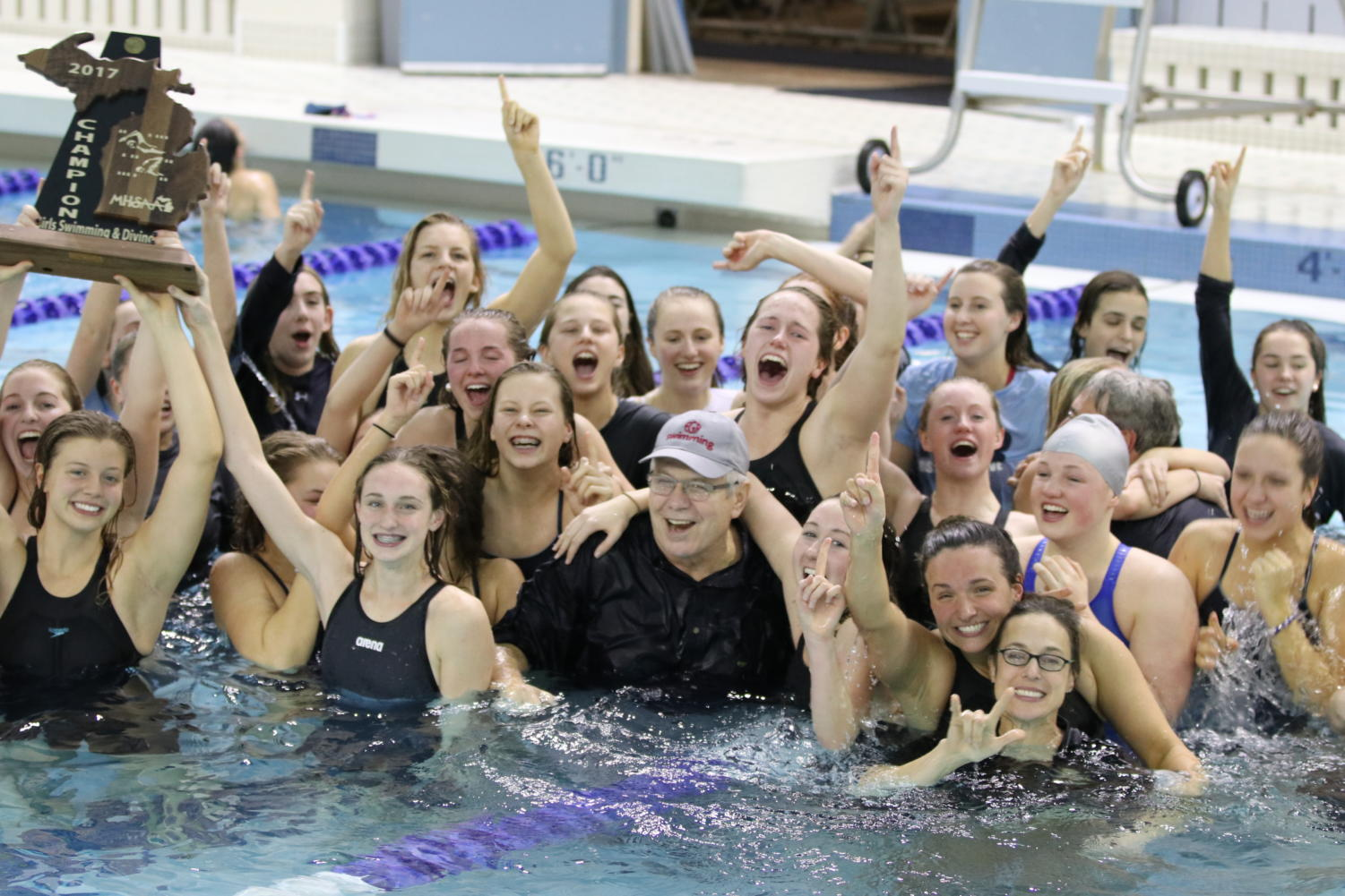 Girls Swim team wins their 21st state championship, their first as a Division 2 team