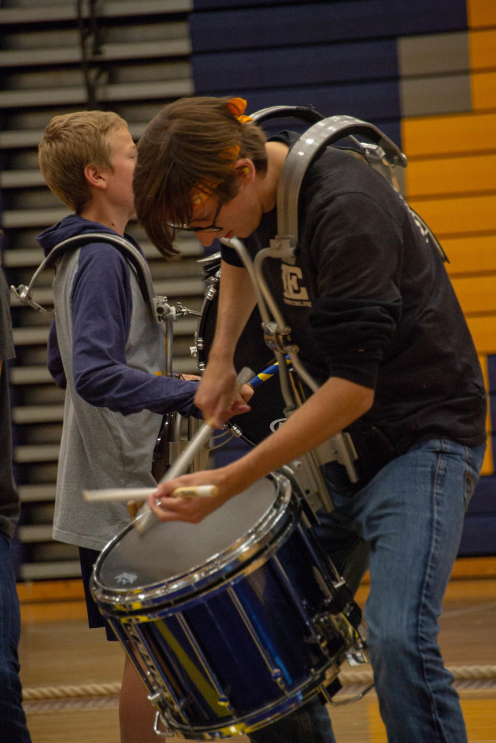 Drew+Gadbois+%2729+playing+the+drums+at+the+homecoming+assembly.