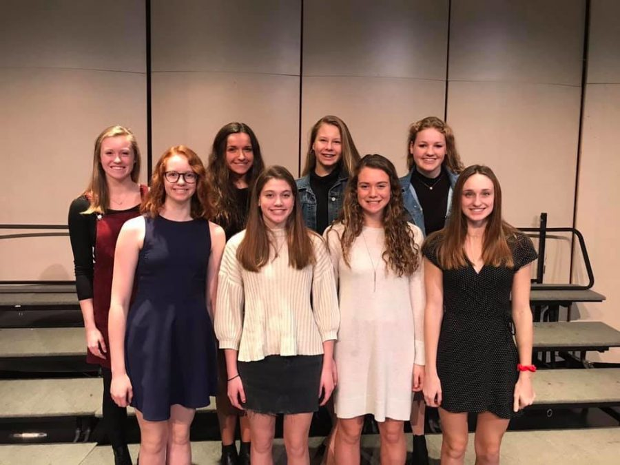 The Girls OK Conference Tier 1 Swim and Dive Team from left to right: A Chambers, N Murphy, E Israels, S Williams, S Higgins, C Witting, G Milnes, and L Levine.