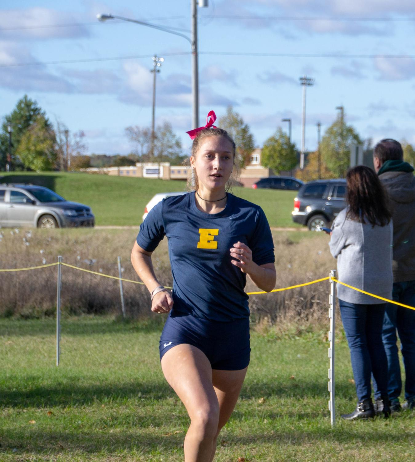 Katherine+Lykins+%2719%2C+state+team+runner%2C+finishes+her+race+at+Otsego+High+School.