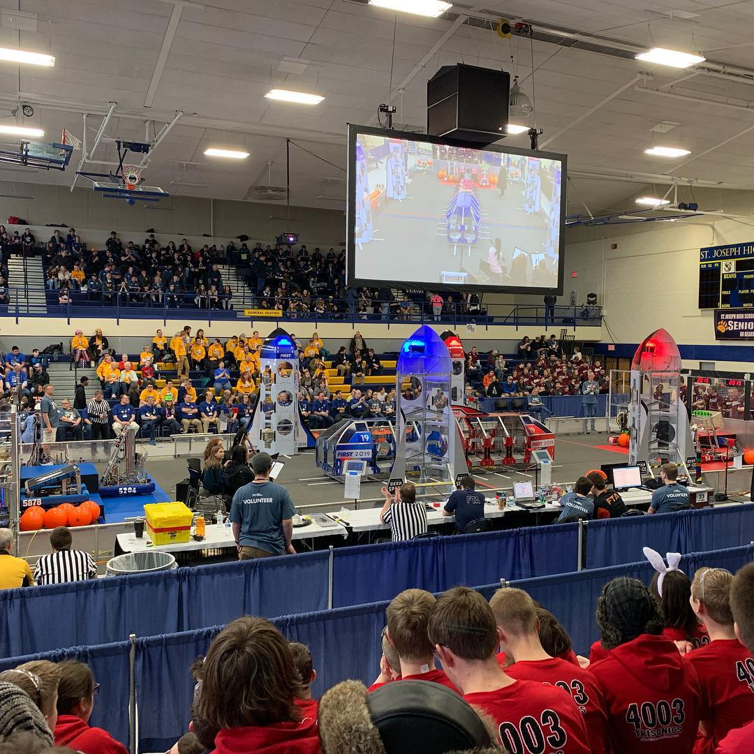 FRC teams compete in two district competitions before advancing to the state and international level. St. Joseph is one of these events.
