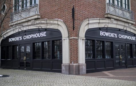 Outside new Bowdie's restaurant in Gaslight Village where iconic Derby Station once stood