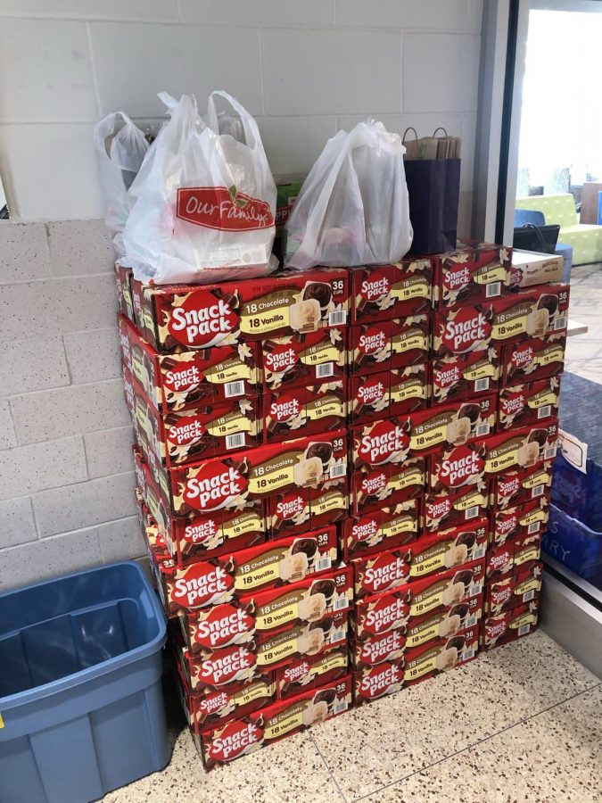 Items collected in this weeks food drive for Kids Food Basket donated by community members and students.